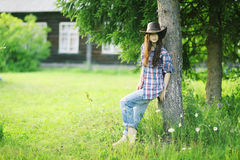 Girl in Wild West style Royalty Free Stock Photos