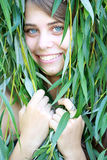 Girl with willow branches Stock Photo