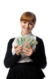 Girl win lots of money Stock Photography