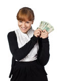 Girl win lots of money Stock Image