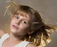Girl in wind Royalty Free Stock Photos