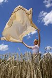 The girl and a wind. Girl in the middle of a wheaten field Stock Image