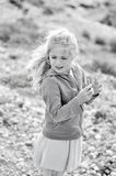 Girl with wind in her hair Stock Photos
