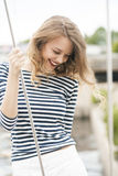 The girl in the wind Stock Photography