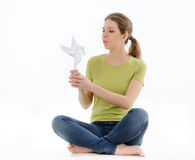 Girl with a windmill Stock Photo