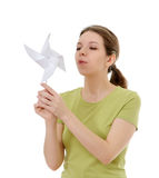 Girl with a windmill Royalty Free Stock Photography