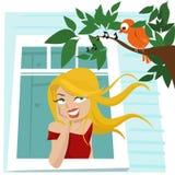 Girl at window. Cartoon character girl at window vector stock illustration