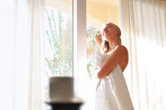 Girl at the window. In the morning Royalty Free Stock Photos