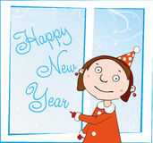 Girl at window. With text - Happy New Year Royalty Free Stock Images