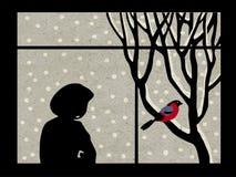 Girl beside window. On on grunge background royalty free illustration