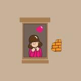 Girl at windows love Royalty Free Stock Image