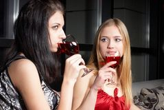 Girl with wine Stock Photography