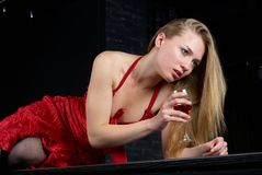 Girl with wine Stock Image