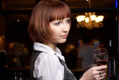Girl with wine Royalty Free Stock Photography