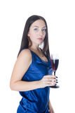 Girl with a wine glass Stock Image