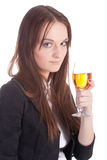 Girl with a wine glass Royalty Free Stock Image