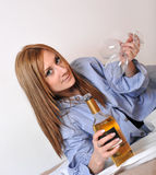 Girl, Wine and Two Glasses Royalty Free Stock Image