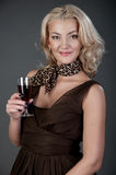 A girl with wineglass Royalty Free Stock Photography