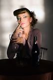 Girl with wineglass and cigarette Royalty Free Stock Photos