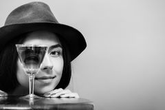 Girl with wineglass Royalty Free Stock Images