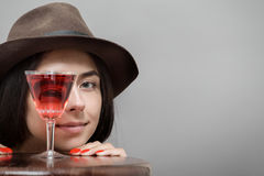Girl with wineglass Stock Image