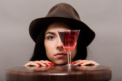 Girl with wineglass Royalty Free Stock Photos