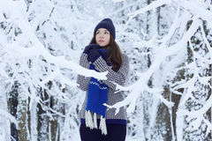 Girl in winer forest Stock Photo