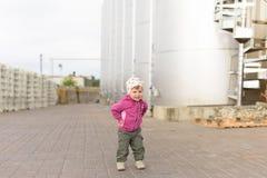 Girl at Winery Yard Stock Images