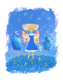 The girl with wings. On a glade Royalty Free Stock Images