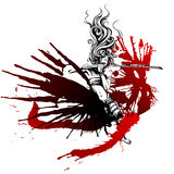 Girl with wings of blood. Samurai girl with wings of blood Stock Photos