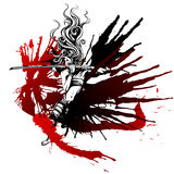 Girl with wings of blood. Samurai girl with wings of blood Stock Images