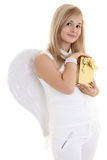 Girl with wings and present Stock Image