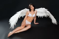 Girl with wings in underwear Royalty Free Stock Image
