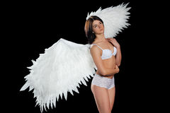 Girl with wings in underwear Stock Photo