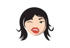 Girl winking and biting her lip. Vector illustration. Isolated on white background Royalty Free Stock Photography