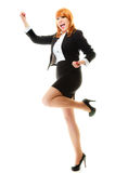 Girl winner celebrating success in job. Success in business work. Young businesswoman in full length happy girl winner shouting for joy, celebrating promotion in Stock Photos
