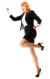 Girl winner celebrating success in job. Success in business work. Young businesswoman in full length happy girl winner shouting for joy, celebrating promotion in Royalty Free Stock Photo