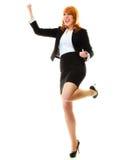 Girl winner celebrating success in job. Success in business work. Young businesswoman in full length happy girl winner shouting for joy, celebrating promotion in Stock Image
