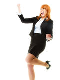 Girl winner celebrating success in job. Success in business work. Young businesswoman happy girl winner shouting for joy, celebrating promotion in her job Stock Photos