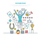 Girl winning of game, concept success, fortune, hight level erudition. Win game show. Participant of show play quiz, answer logical questions, check their Stock Image