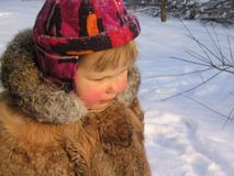 A girl in winter stock photography