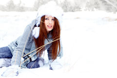 Girl on the winter background Stock Photography