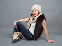 The girl in a winter cap Royalty Free Stock Photos