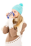 Girl in a winter cap Stock Photos