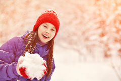 Girl in the winter. child outdoors Royalty Free Stock Image