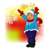 Girl in winter cloth with snowflakes Stock Image