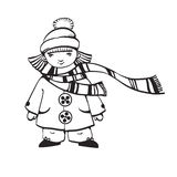 Girl in winter clothes. Vector outline illustration of girl wearing winter clothes Royalty Free Stock Photos