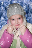Girl in winter clothes. With snow Stock Photos