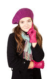 Girl in winter clothes isolated over white Stock Images