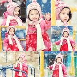 Girl in winter clothes playing Stock Photos